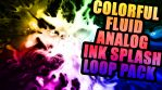 12 X COLORFUL ANALOG INK SPLASH VJ LOOP PACK VOL 5- COLORED